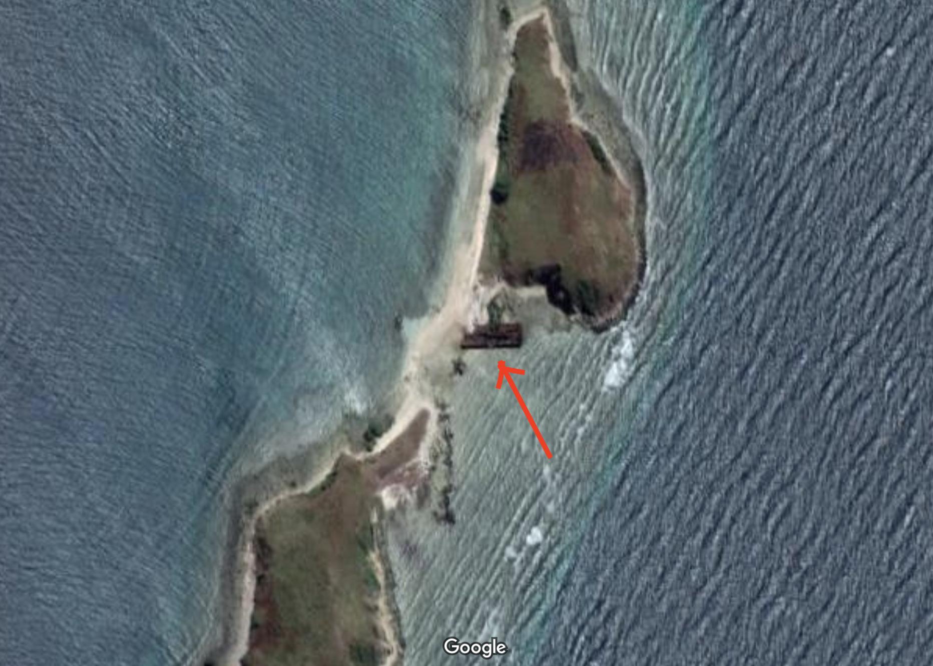 パプア首都に残る戦艦