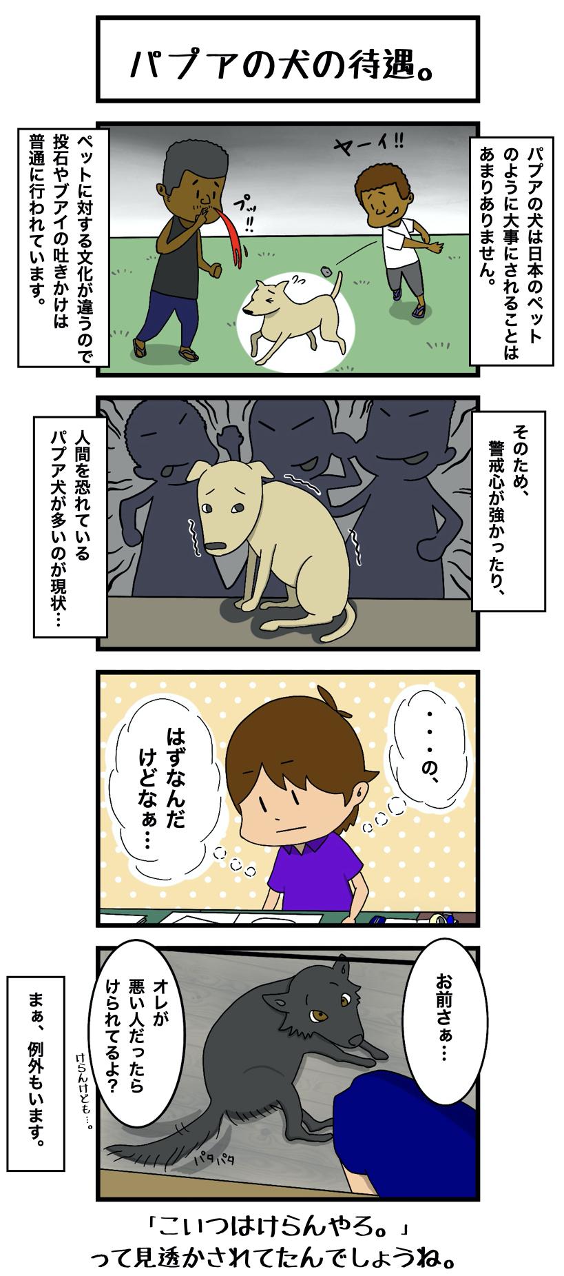 2 パプアの犬の待遇。